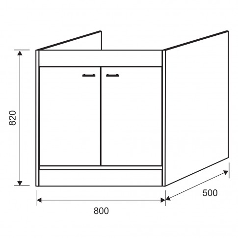 Masca pentru chiuveta bucatarie de inox Crina, PVC, fag, 80 x 50 x 82 cm