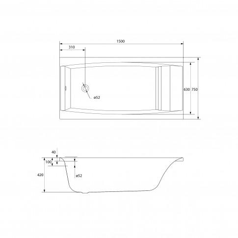 Cada baie rectangulara Cersanit Virgo S301-048, acril, 150 x 75 cm
