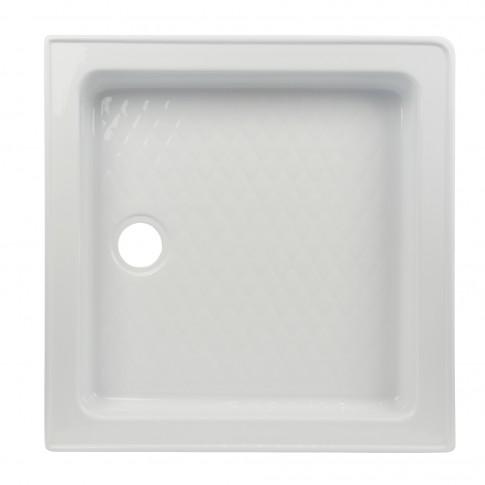 Cadita de dus patrata West Erika, acril, alb, 80 x 80 x 27 cm, masca si suport incluse