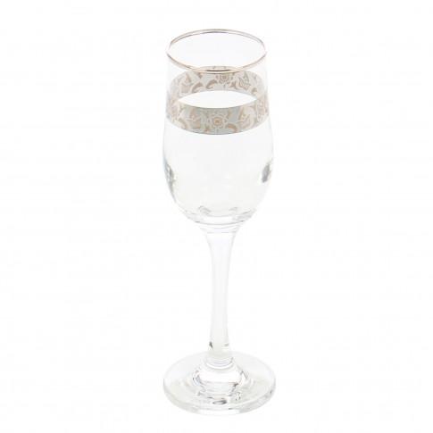 Pahar sampanie, Violet platinum, din sticla, 200 ml, set 6 bucati