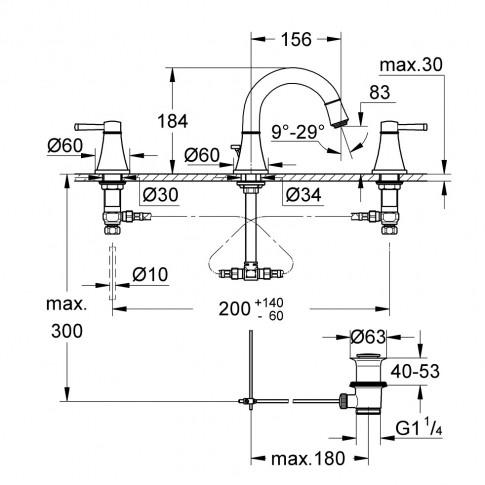 Baterie baie pentru lavoar, Grohe Grandera 20417000, montaj stativ, dubla comanda, finisaj cromat, ventil inclus