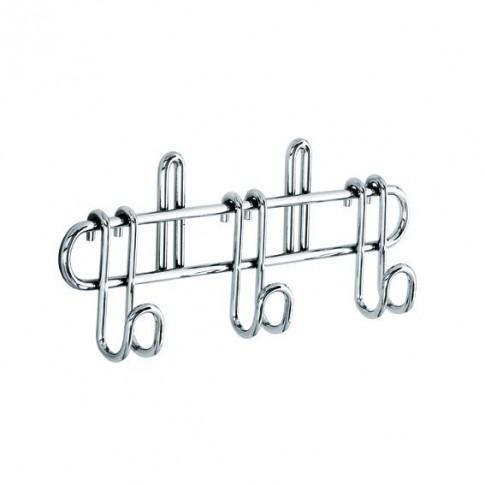 Suport pentru ustensile bucatarie, metal cromat, lucios, 3 agatatori, 21.7 x 3.5 x 8 cm