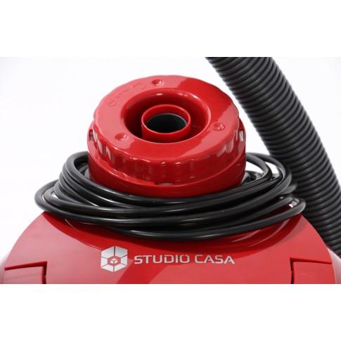 Aspirator Studio Casa Hepatech Aqua, cu filtrare prin apa, fara sac, 10 l, 1600 W, filtru HEPA, functie de suflare, rosu cu negru