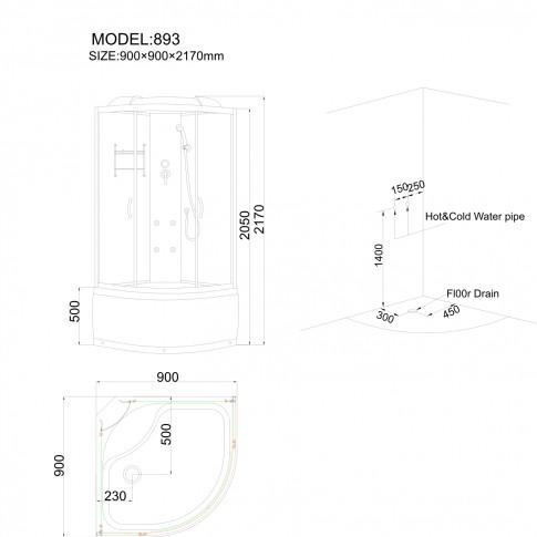 Cabina dus cu hidromasaj ANS-893, cadita inalta, 90 x 90 x 217 cm