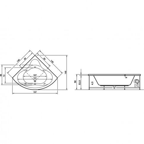 Cada baie simetrica, pe colt, West Nausica, masca si suport incluse, 140 x 140 cm
