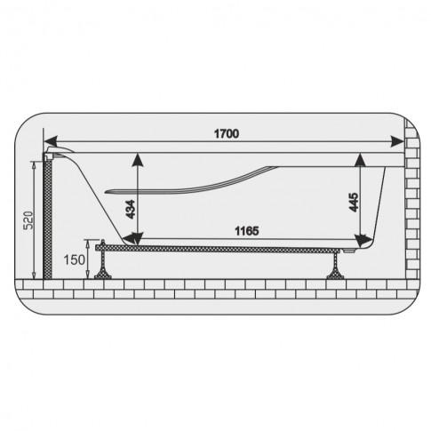 Cada baie rectangulara Martplast Rio, acril, 170 x 75 cm