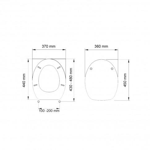 Capac WC din MDF, Rococo 2FSE157164, lila, inchidere standard, 360 x 450 mm