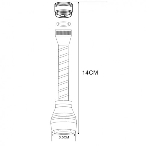 Aerator pentru baterie cu gat lung Kadda 9410203, D - 3.5 cm