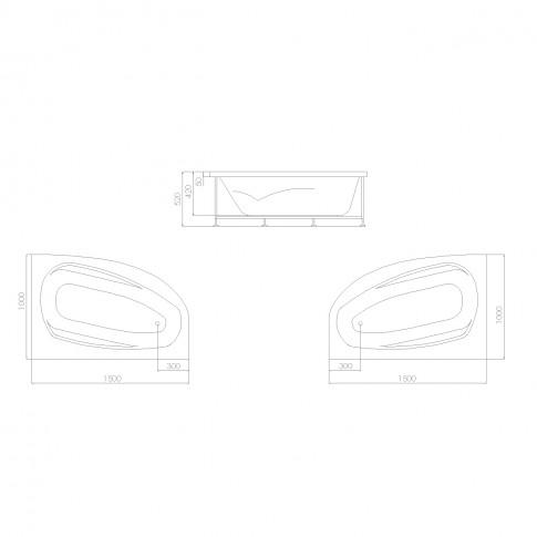 Cada baie asimetrica, varianta montaj pe dreapta, Kadda Amanda, masca si suport incluse, 150 x 100 cm