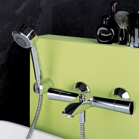 Baterie baie cu termostat, pentru cada / dus, Kludi Zenta 351010538, montaj aplicat, monocomanda, finisaj cromat