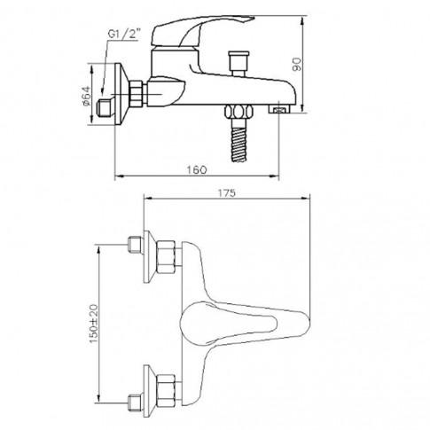 Baterie baie pentru cada / dus, Kadda Denver MY9884-3, montaj aplicat, monocomanda, finisaj cromat