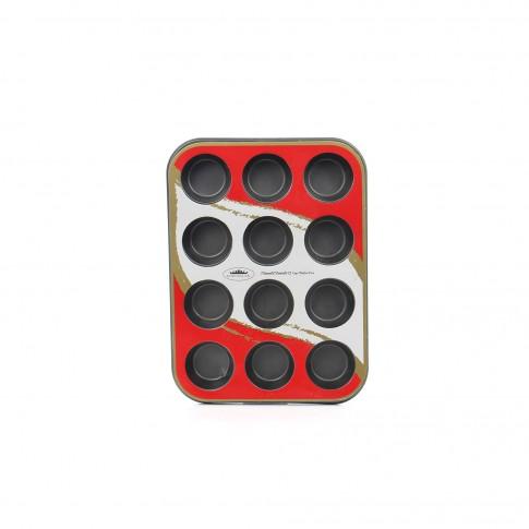 Forma pentru copt briose, dreptunghiulara, 12 compartimente, otel cu acoperire teflon, 35 x 26.5 cm