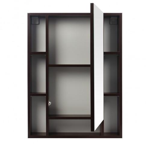 Dulap baie cu oglinda si polite, 1 usa, Martplast Larissa Lux, wenge, 60 x 12.5 x 80 cm