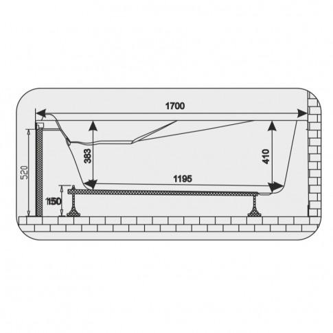 Cada baie rectangulara Martplast Sofia, acril, 170 x 70 cm