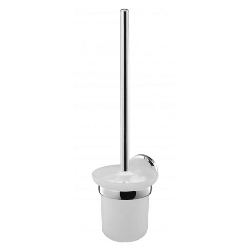 Perie WC Bisk Sensation 03094, suspendat, zinc aluminiu + sticla mata