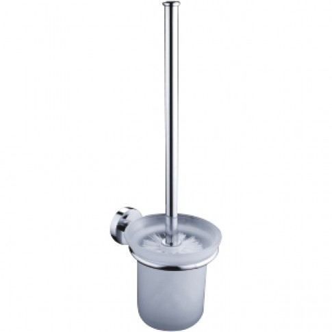 Perie WC Kadda Nappy F020G, suspendat, metal + sticla mata, 11.5 x 14 x 34 cm