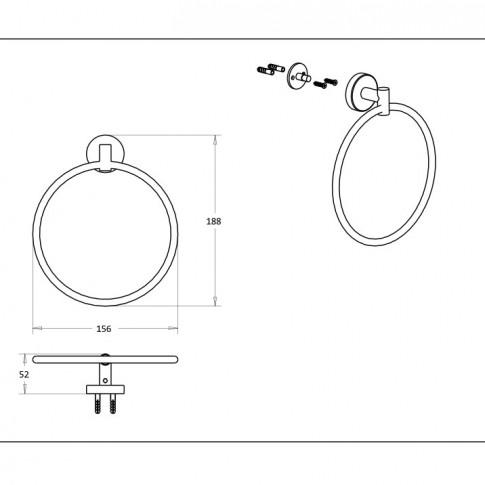 Suport prosop baie Kadda Nappy F011, tip inel, 18.8 x 15.6 x 5.2 cm