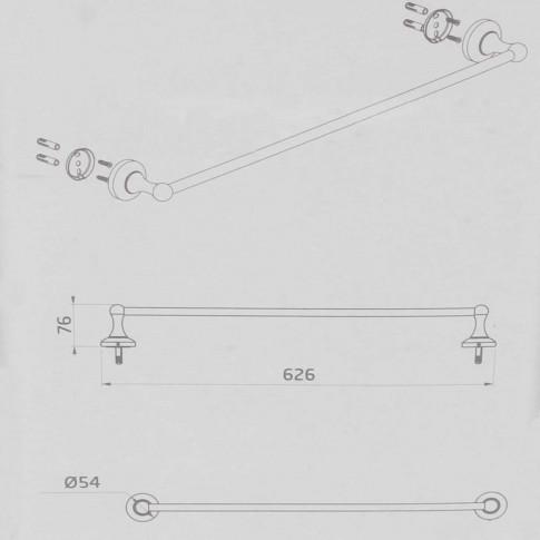 Suport prosop baie Kadda Retro 89724, tip bara, 62.6 x 7.6 cm
