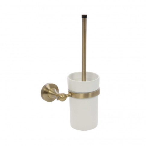Perie WC Kadda Retro 89790, suspendat, metal + ceramica, finisaj auriu antichizat