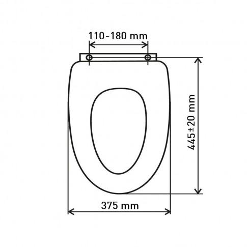 Capac WC din MDF, Ferro Stenata Nova, model catei, inchidere standard, 375 x 455 mm