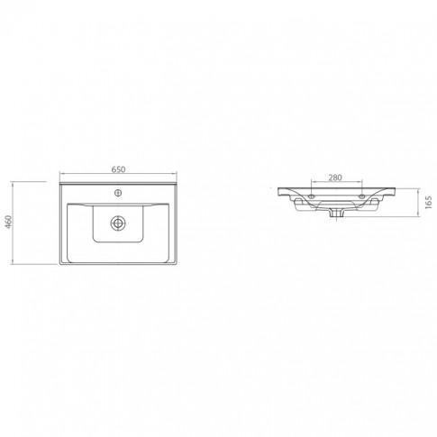 Lavoar Arthema Neo 0065M-A, alb, dreptunghiular, 65 cm