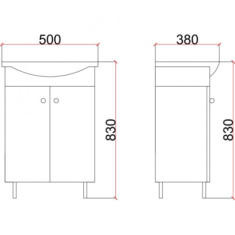 Masca baie + lavoar Martplast Eco, cu usi, wenge, 50 x 38 x 83 cm