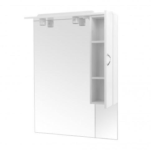 Dulap baie cu oglinda si iluminare, 1 usa, dreapta, Savini Due Rimini 976, alb, 70 x 105 cm