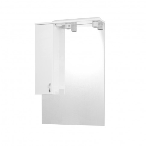 Dulap baie cu oglinda si iluminare, 1 usa, stanga, Savini Due Rimini 976, alb, 70 x 105 cm
