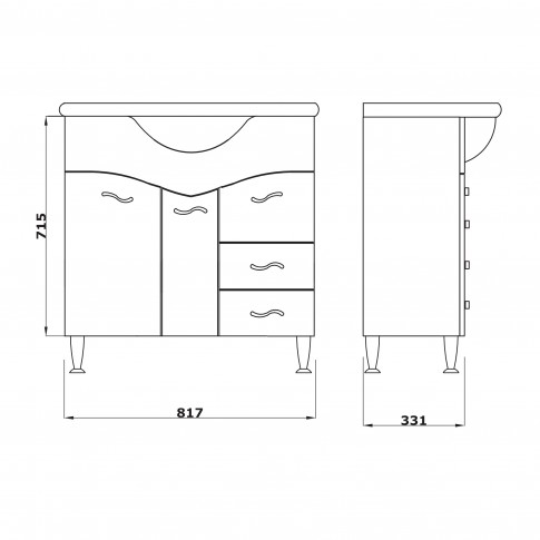 Masca baie + lavoar Savini Due Rimini 977S, cu sertare si usi, alb, 86 x 85 x 47 cm