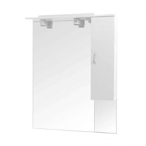 Dulap baie cu oglinda si iluminare, 1 usa, dreapta, Savini Due Rimini 978, alb, 81 x 105 cm