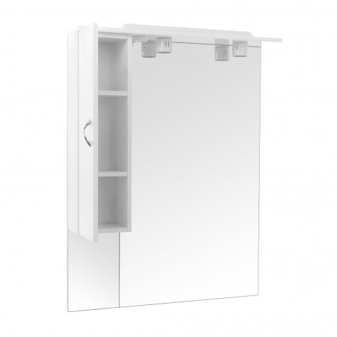 Dulap baie cu oglinda si iluminare, 1 usa, stanga, Savini Due Rimini 978, alb, 81 x 105 cm