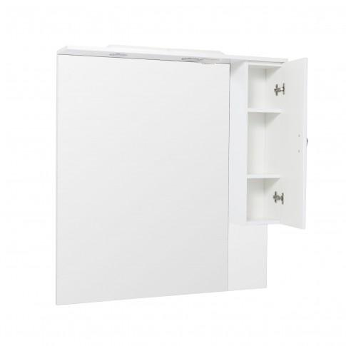 Dulap baie cu oglinda si iluminare, 1 usa, dreapta, Savini Due Rimini 980, alb, 100 x 105 cm