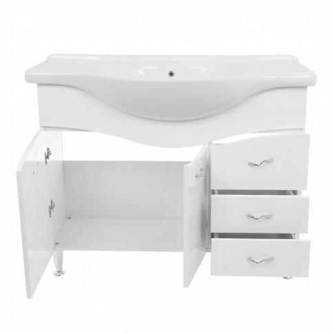 Masca baie + lavoar Savini Due Rimini 979, cu sertare si usi, alb, 86 x 105 x 50 cm
