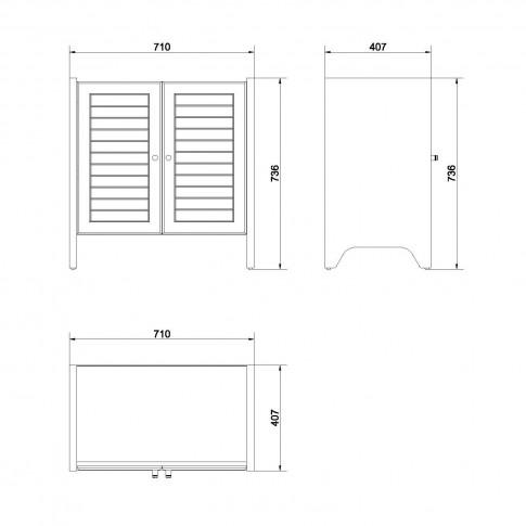 Masca baie pentru lavoar, Cersanit Mocca S544-011, cu usi, wenge, 71 x 40 x 73 cm