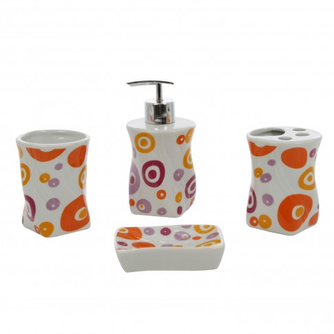 Set accesorii pentru baie, Kadda 120123, ceramica, 4 piese, alb / portocaliu