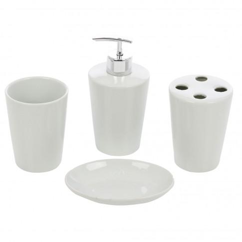 Set accesorii pentru baie, Kadda 120147, ceramica, 4 piese, alb