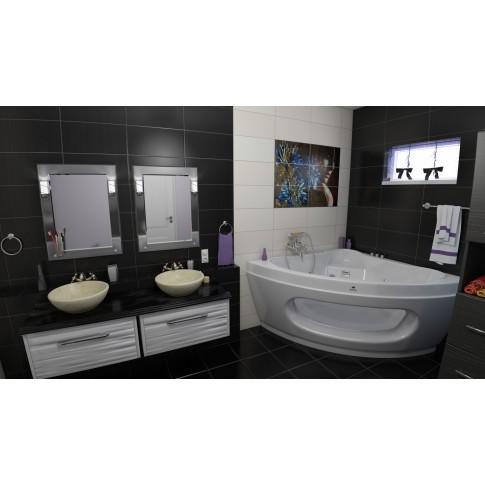 Masca baie pentru lavoar, Merkur 80, cu sertar, alba, montaj suspendat, 77 x 44 x 41 cm