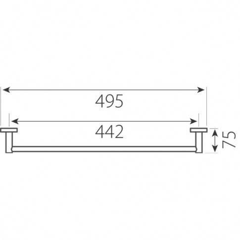Suport prosop baie Ferro Grace AC07, tip bara, 49.5 x 7.5 cm
