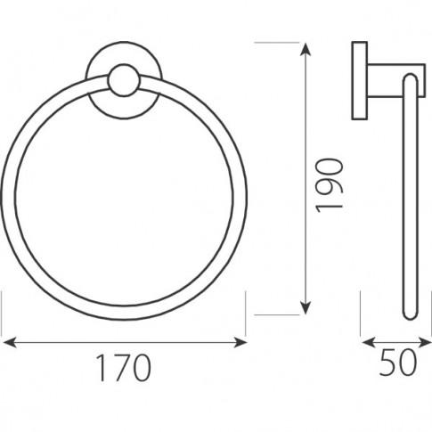 Suport prosop baie Ferro Grace AC11, tip inel, 17 x 19 x 5 cm