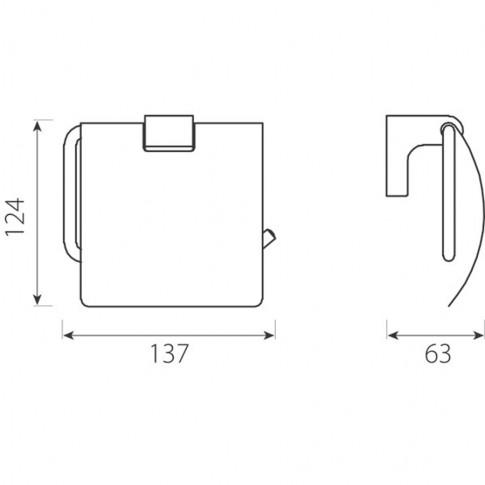 Suport pentru hartie igienica, Ferro Audrey AD15, cu clapeta, cromat, 13.7 x 6.3 x 12.4 cm