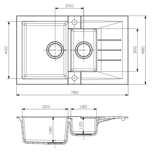 Chiuveta bucatarie compozit algranit Alveus Rock 70 bej cuva stanga / dreapta 78 x 48 cm + baterie Tonia A55