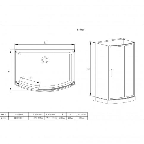 Cabina dus + cadita rectangulara K - S04, 90 x 120 x 208 cm
