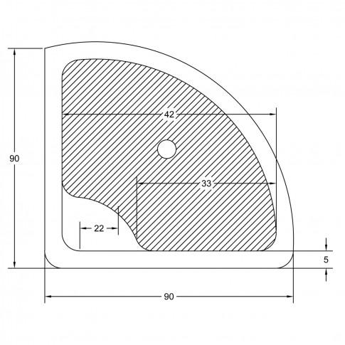 Cadita dus semirotunda West Deea, acril, masca si suport incluse, 90 x 90 x 48 cm