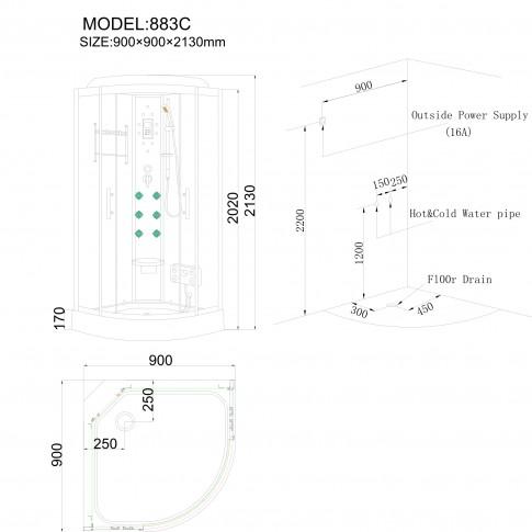 Cabina dus cu hidromasaj ANS-883C, 90 x 90 x 213 cm