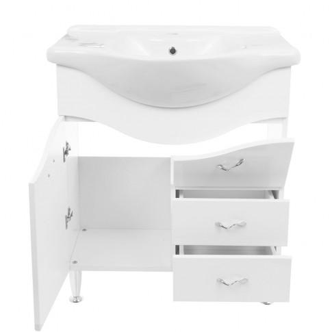 Masca baie + lavoar Savini Due Rimini 975S, cu sertare si usi, alb, 86 x 75 x 51 cm