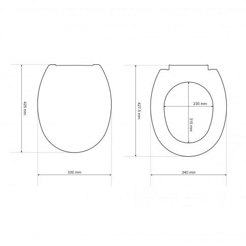 Capac WC din polipropilena, Cersanit Roma K98-0036, alb, inchidere standard, 330 x 425 mm