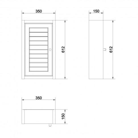 Dulap baie suspendat, Mocca S544 - 012, 1 usa, wenge castaniu, 35 x 61 x 15 cm