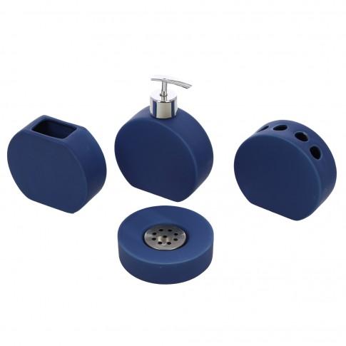 Set accesorii pentru baie, Kadda 1106277, ceramica, 4 piese, indigo