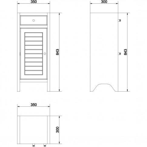 Dulap baie pe sol, 1 usa, Cersanit Mocca S544-002, wenge, deschidere pe dreapta / stanga, 84 x 35 cm