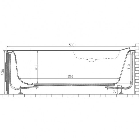 Cada baie asimetrica, pe colt, varianta montaj pe dreapta, Martplast Sofia, masca si suport incluse, acril, 150 x 96 cm